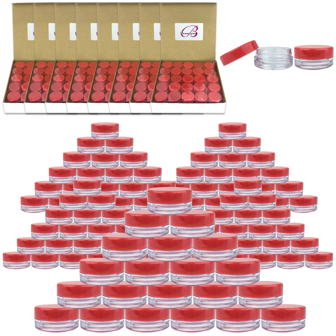 (Quantity: 1000 Pieces) Beauticom 3G/3ML Round Clear Jars with RED Lids for Scrubs, Oils, Toner, Salves, Creams, Lotions, Makeup Samples, Lip Balms - BPA Free