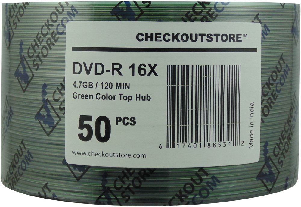 CheckOutStore 100 16X DVD-R 4.7GB Green Top by CheckOutStore