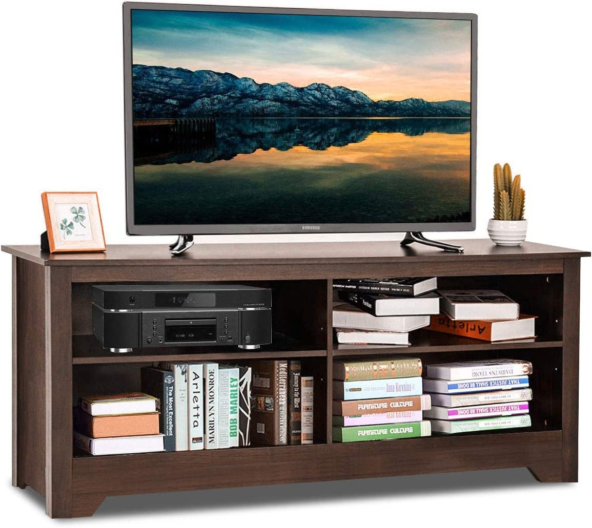 Tangkula TV Stand, Modern Wood Large Wide Entertainment Center for TV up to 60 , Living Room Media Console Stand with 4 Open Storage Shelves, Espresso