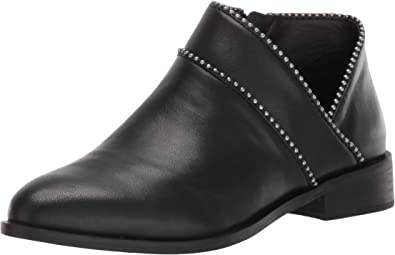 Lucky Brand Perrma Black Curved Topline Pinpoint Studed Moto Edge Bootie
