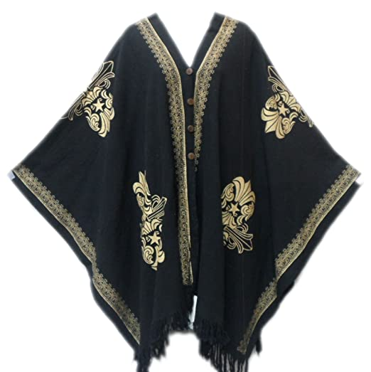 1e7ae059e39 Amazon.com  Decoraapparel African Dashiki Mud Cloth Vintage Hippie Cotton  Poncho for Womens (Black Gold