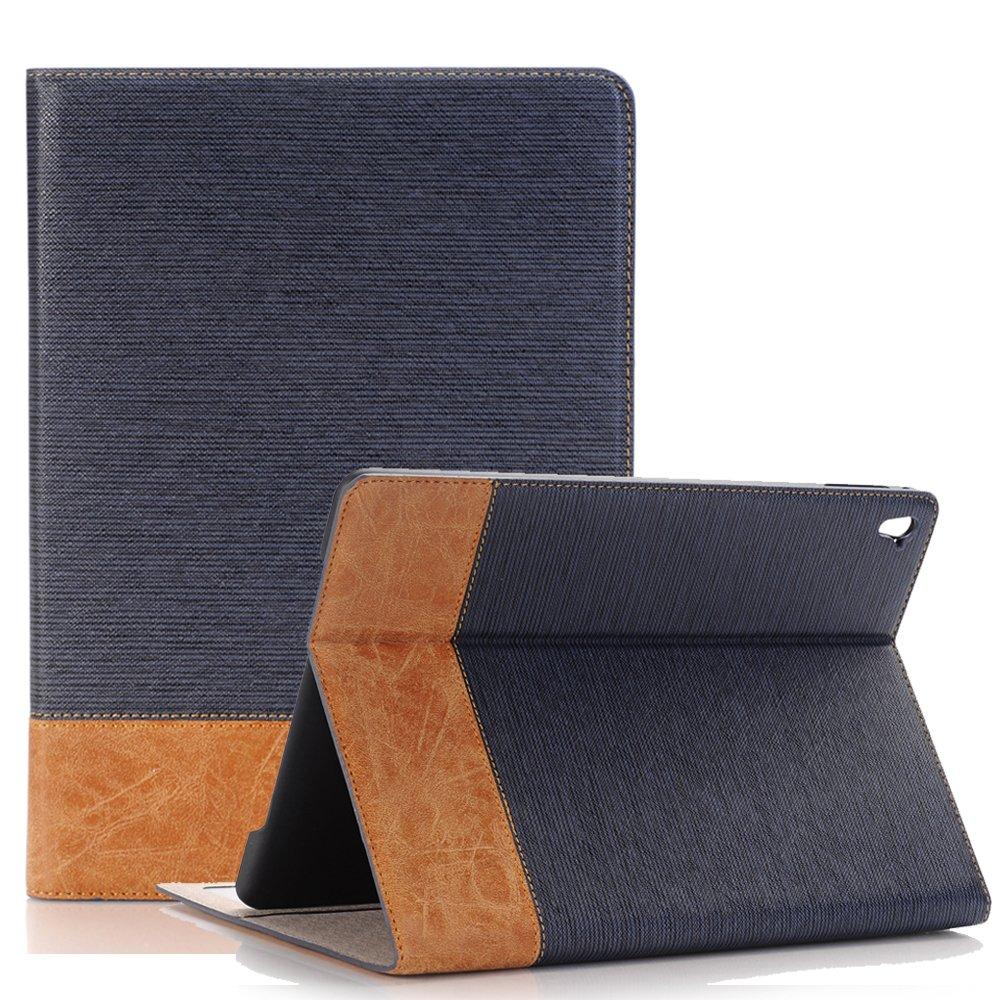 iPad Pro 9.7ケース、夢翼スリム高級ブックスタイルフォリオスタンドwithカードスロット磁気画面保護スマートケースカバーfor Apple iPad Pro 9.7インチタブレット iPad 9.7 2018/2017 B07BZQQCL9 ダークブルー iPad 9.7 2018/2017