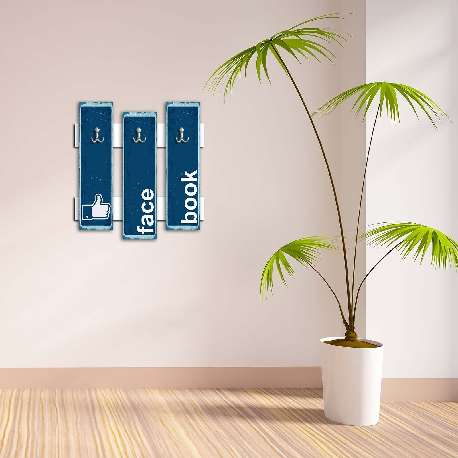 Decorative Wall Hook 3 Pcs Metal Key Holder 100% MDF Mounted Hanging Home Decor, Perfect for Foyers Entryway, Door Coats Hats Towels Scarfs Bags Like Facebook Social Media Emoji Blue Background