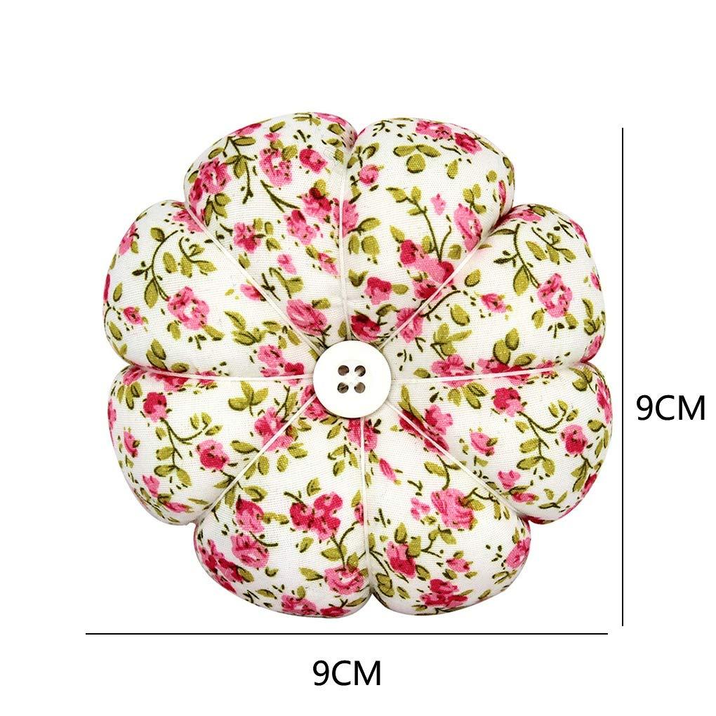 Techting Wrist Pin Cushion Pumpkin Shaped Elastic Wrist Band Needle Cushion for Cross Stitching Sewing