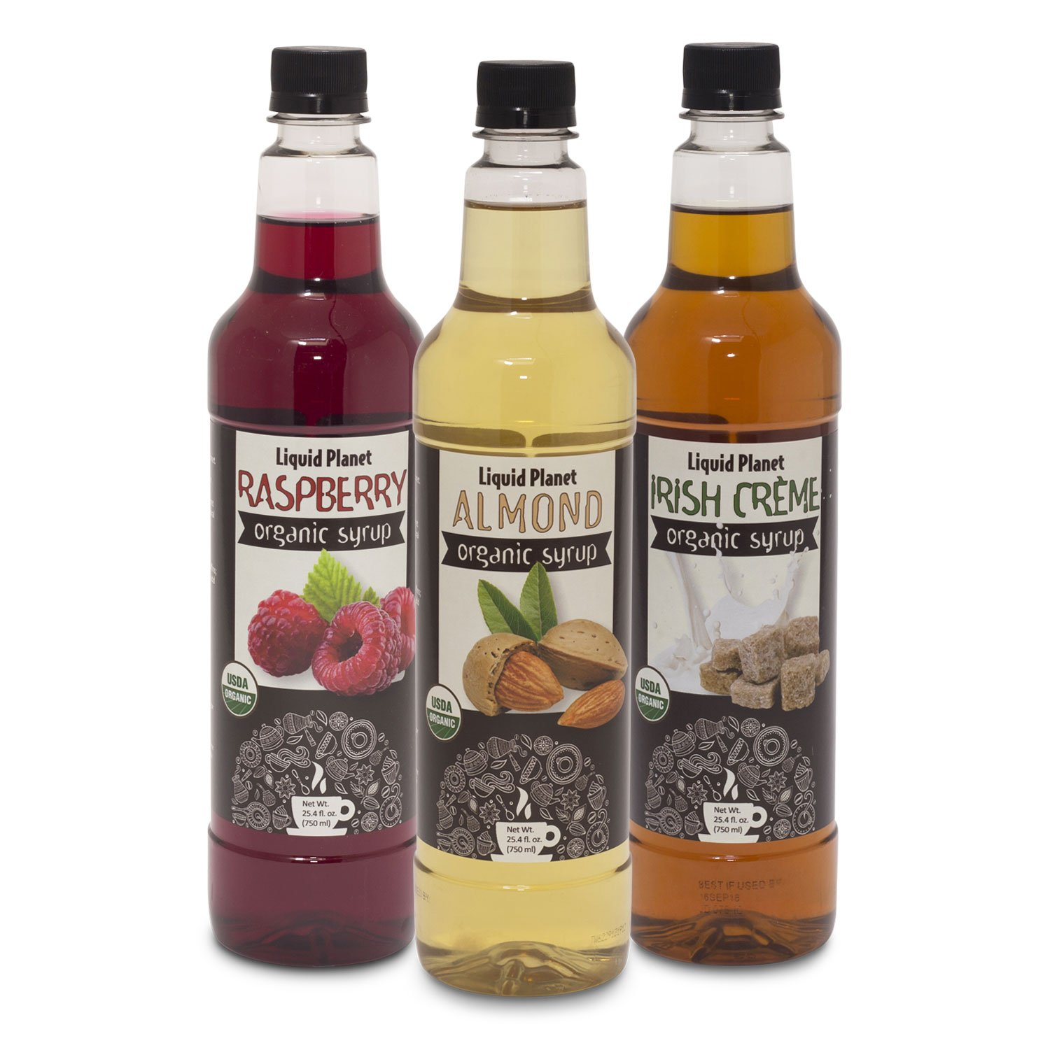 Organic Coffee Syrup 3 Pack- Raspberry, Almond, Irish Creme 76.2 fluid ounces, HFCS Free, by Liquid Planet