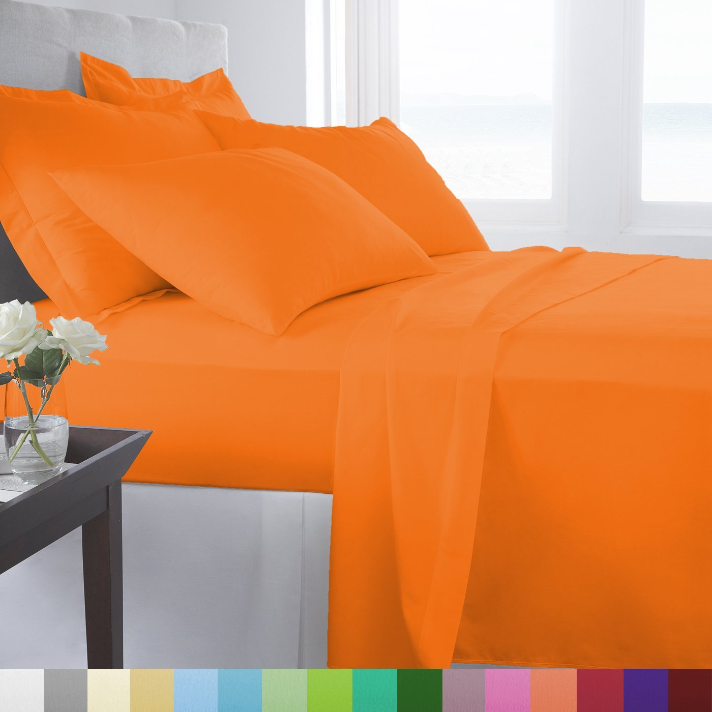 Supreme Super Soft 4 Piece Bed Sheet Set Deep Pocket Bedding - King Size Orange