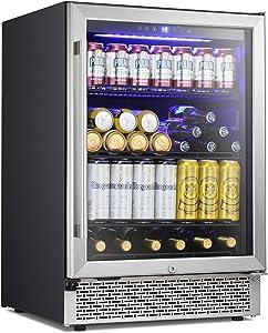 Antarctic Star 24 Inch Beverage Refrigerator Buit-in Wine Cooler Mini Fridge Clear Glass Door Digital Memory Temperature Control, Beer Soda LED Light, Quiet Operation (24 Inch)