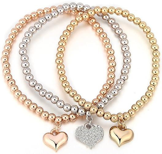 Bracciale Charms donna Bracciali stretch per ragazze Bracciale Bead Bracciale Lucky Love Bracciale con gemme e cristalli