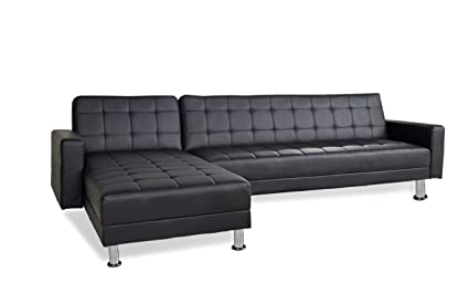 Lovely Barcelona Sofa Bed SECTIONAL With Chaise,black Faux Leather