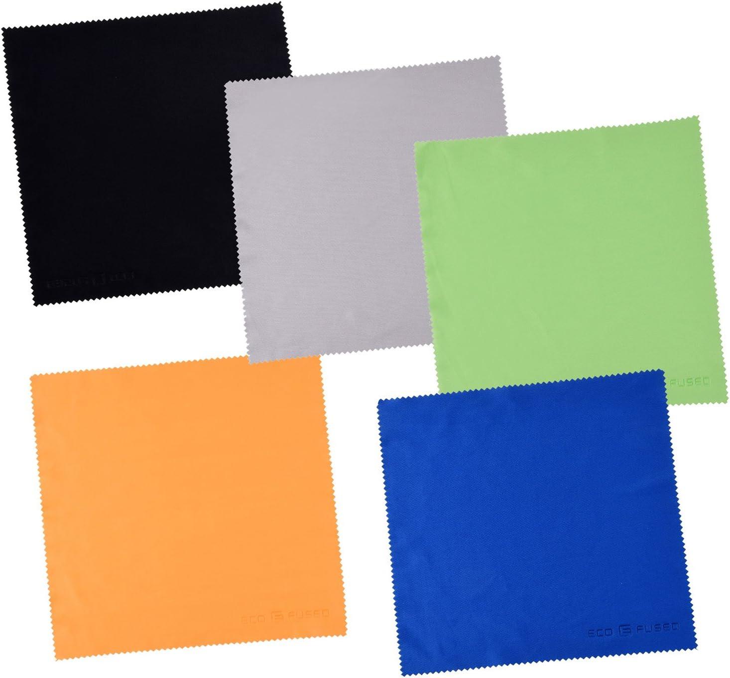 Paños de Limpieza de Microfibra Grandes Eco-Fused - Paquete de 5 – 8 x 8 pulgadas – Perfectos para Pantallas Grandes de TV y Monitores de Computadora - También para Limpiar Antojos, Lentes de Cámara,
