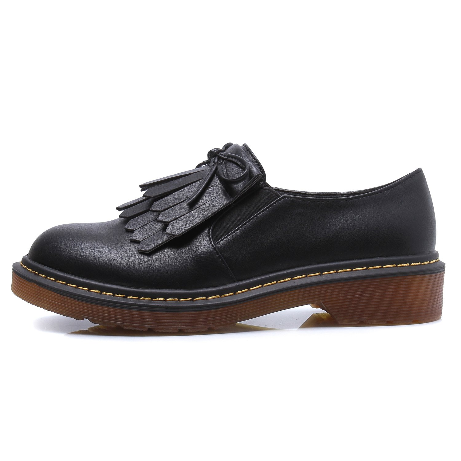 Smilun Lady¡¯s Brogues Classic Lace-Up Flats Shoes For Autumn Winter Spring Slip On Black Size 10 B(M) US by Smilun (Image #2)