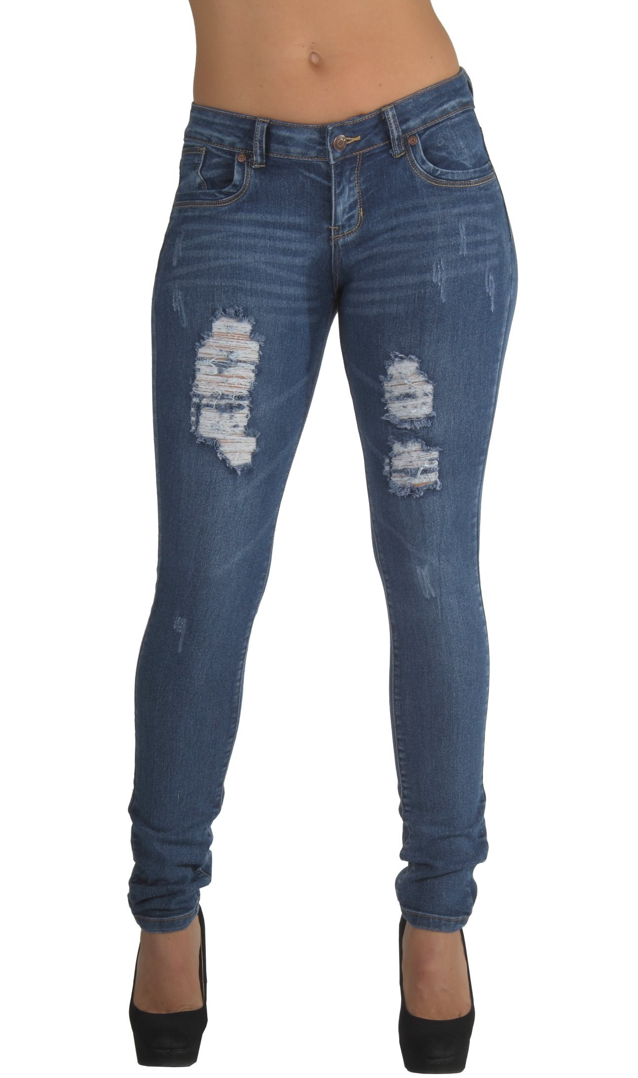 Style CH032P - Plus Size, Classic, Ripped Distressed, Destroyed Skinny Jeans in Washed Blue Size 22