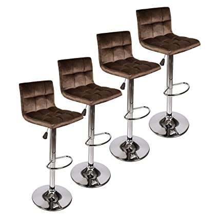 Elecwish Barstool Velvet Fabric Tufted Cushion Foam Coffee Home Silver Chrome Foot Rest Counter Bar Height