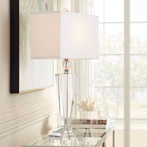 Modern Table Lamp Art Deco Crystal Trophy Off White Rectangular Shade
