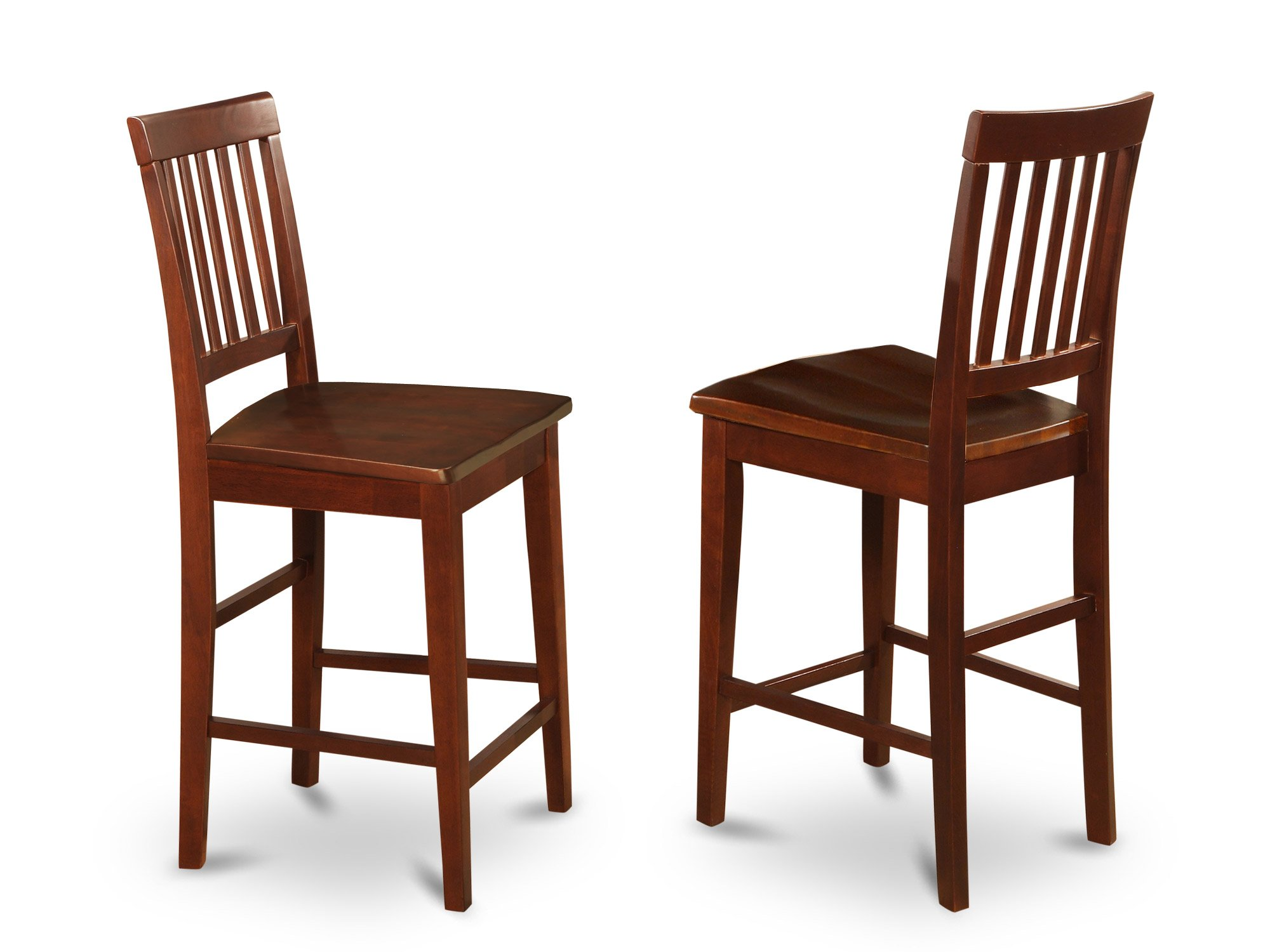 East West Furniture VNS-MAH-W Counter Stool Set with Wood Seat, Mahogany Finish, Set of 2