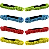 8PCS 3-Legged Race Bands Elastic Tie Rope with 4 Assorted Colors Perfect for Relay Race Game, Carnival, Field Day, Backyard