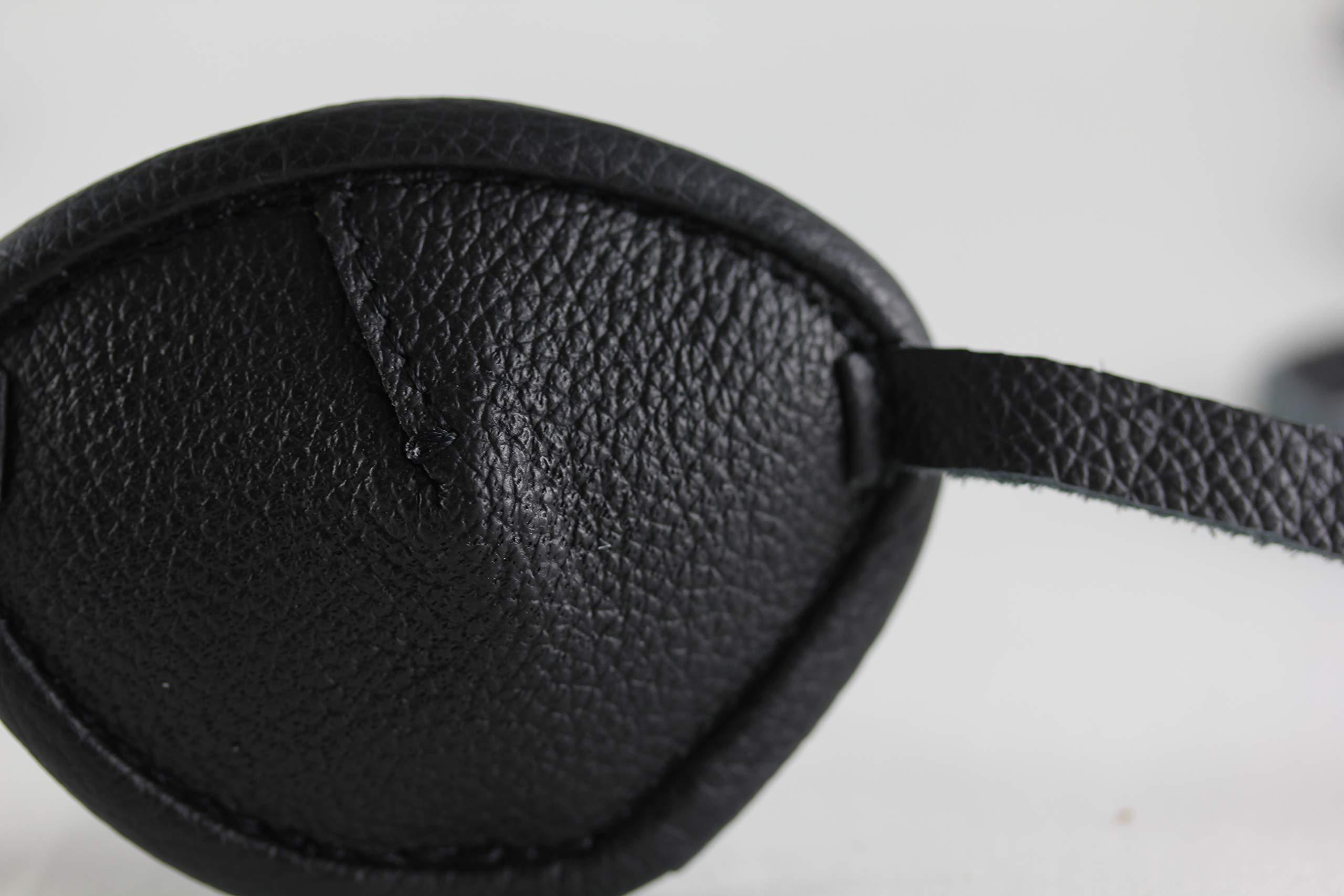 Leather Eyepatch. Slight Convex Eye Patch (Right Eye, Full Size Black) by Desantis Leather Goods (Image #6)