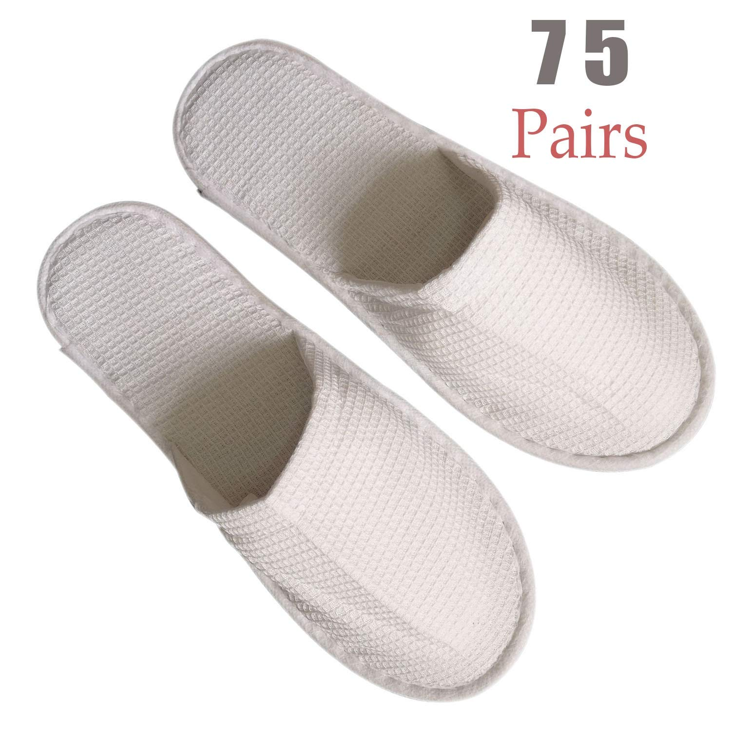 Waffle 75 Pairs Slippers Women and Men Disposable Portable Slippers, Women Slipper Hotel Disposable Spa Slippers Men Portable Comfortable Non-Slip Sole One Size Fit Most Men and Women Spa-