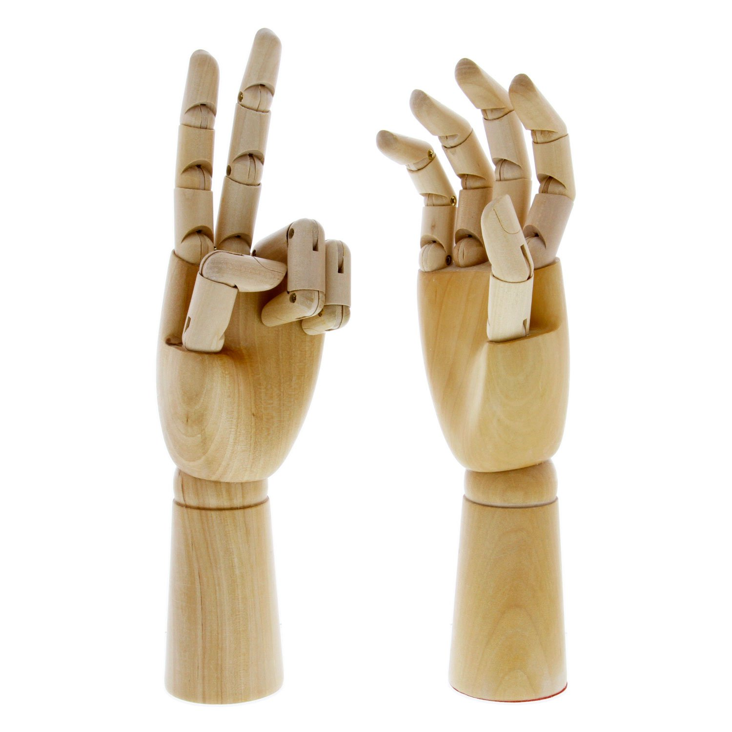 US Art Supply Pair of 12'' Left & 12'' Right Hands Wood Artist Drawing Manikin Articulated Mannequin with Wooden Flexible Fingers - Perfect for drawing the human hand (12'' Pair of Left & Right)