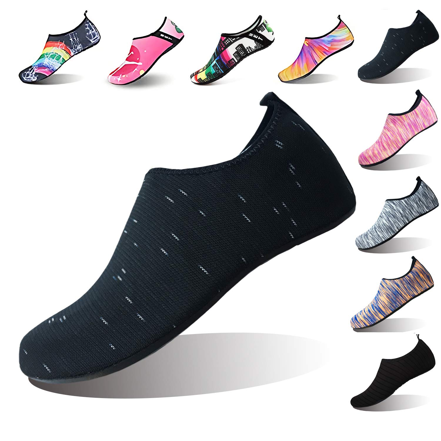 Summer Outdoor On-Slip Rubber Sole Water Shoes Barefoot Aqua Socks Beach Swim Surf Yoga Shoes Men Women Kids (M(W:7.5-8.5,M:6.5-7.5), Black dot)