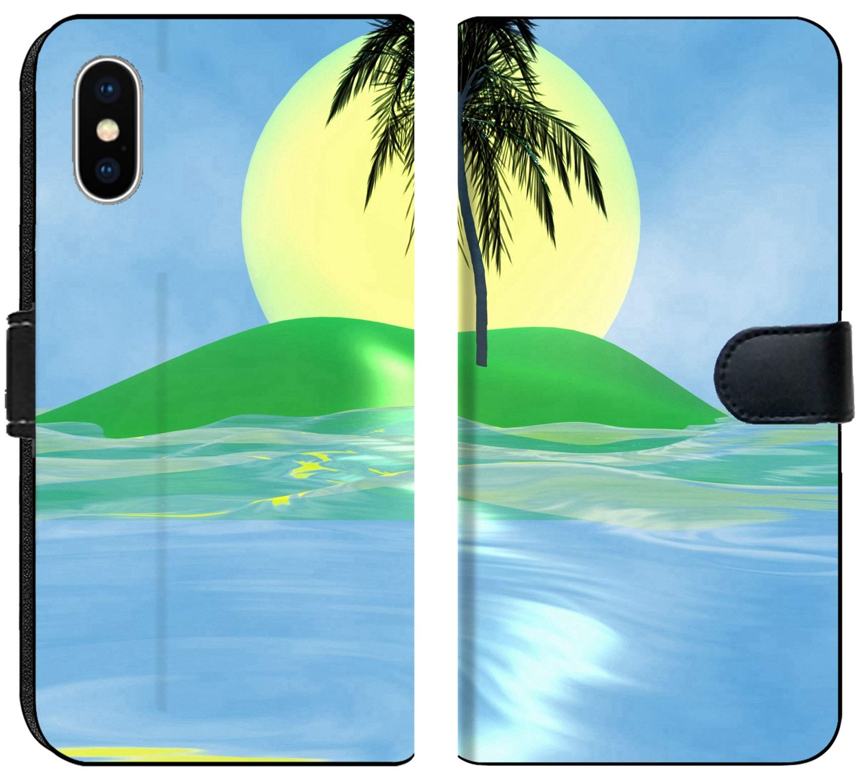 Luxlady iPhone X Flip Fabric Wallet Case Solar island with a palm tree in the huge dark blue sea IMAGE ID 2842537