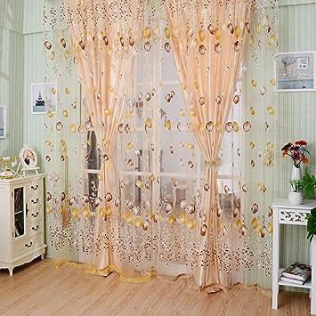 Rideaux de fenêtre Pur Voile Tulle pour Chambre Salon Balcon Cuisine ...