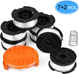 "EAONE 7 Pack Black and Decker AF-100 Weed Eater String, 10ft 0.065"" Grass Trimmer Line Replacement Auto-Feed Spool with 1 Spool Cap and 1 Spring"