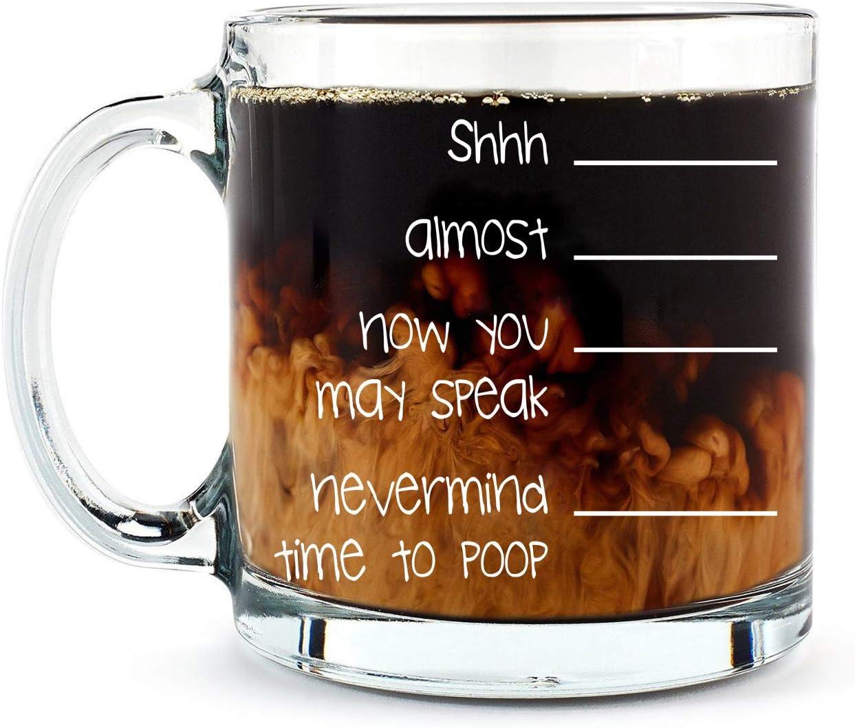 Shh. Nevermind, Time to Poop Mug - Funny Poop Mug - 13OZ Glass Coffee Mug - Mugs For Women, Boss, Friend, Employee, or Spouse - Perfect Birthday Idea - By AW Fashions