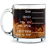 Shh. Nevermind, Time to Poop Mug - Funny Poop Mug - 13OZ Glass Coffee Mug - Mugs For Women, Boss, Friend, Employee, or Spouse