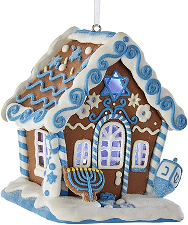Kurt Adler Gingerbread Led Hanukkah House Ornament