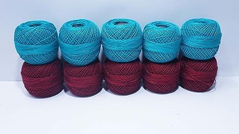 Hilo de algodón para ganchillo, 10 unidades, color granate y azul ...