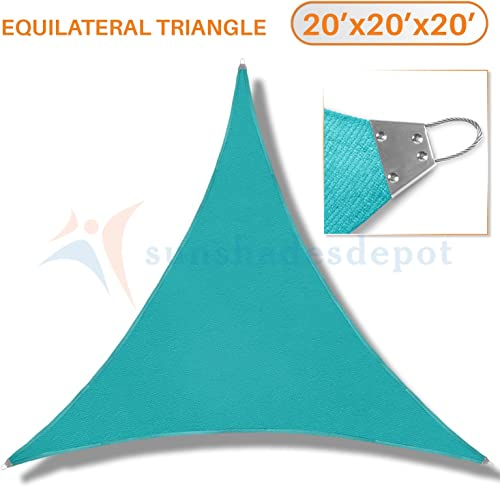 TANG Sunshades Depot 20 x20 x20 Reinforcement Large Sun Shade Sail Turquoise Green Equilateral Triangle Heavy Duty Metal Spring Outdoor Permeable UV Block Fabric Durable Steel Wire Strengthen 160 GSM