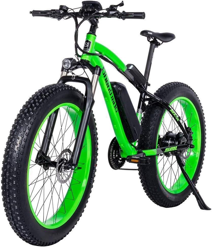GUNAI Bicicletas Electricas Neumaticos Bicicleta 26 Pulgada 1000w 48V 17AH Bateria Litio Frenos de Disco Bicicleta(Verde): Amazon.es: Deportes y aire libre