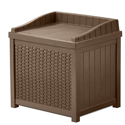NAKSHOP Outdoor Storage Containers For Deck With Lids Multifunctional Patio Storage  Trunk Modern Box Brown Shed