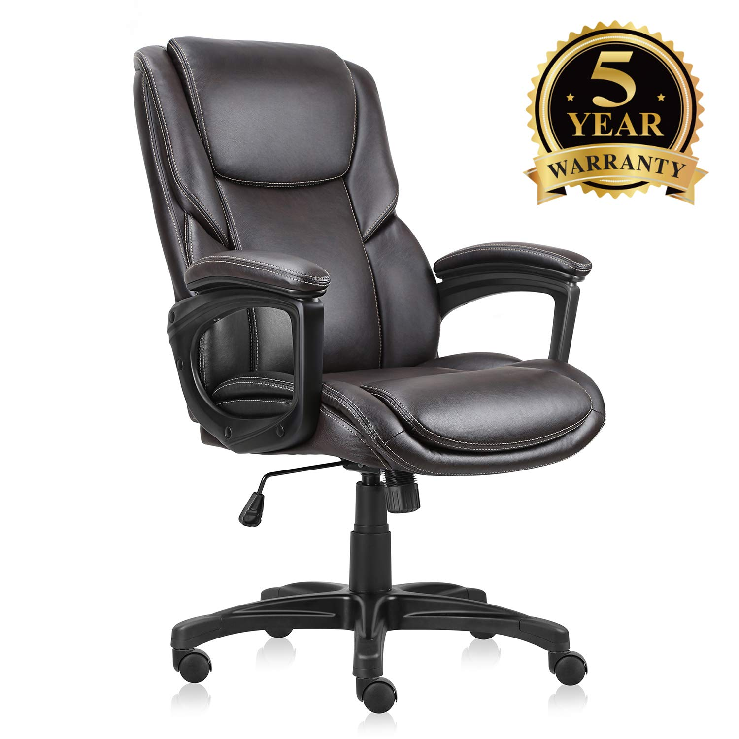 Executive Office Chair with Brown Leather, Swivel Desk Chair for Home and Office, Ergonomic Computer Chair with Adjustable seat