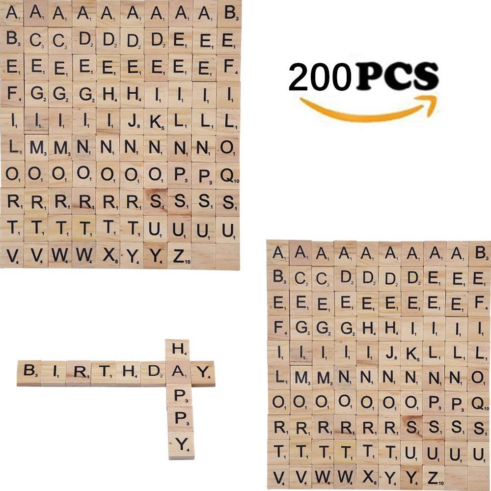 YFMD Holzbuchstaben Holzfliesen, 100 Stück Scrabble Briefe für Handwerk Brettspiele Schmuckherstellung Kit (2 Sets)