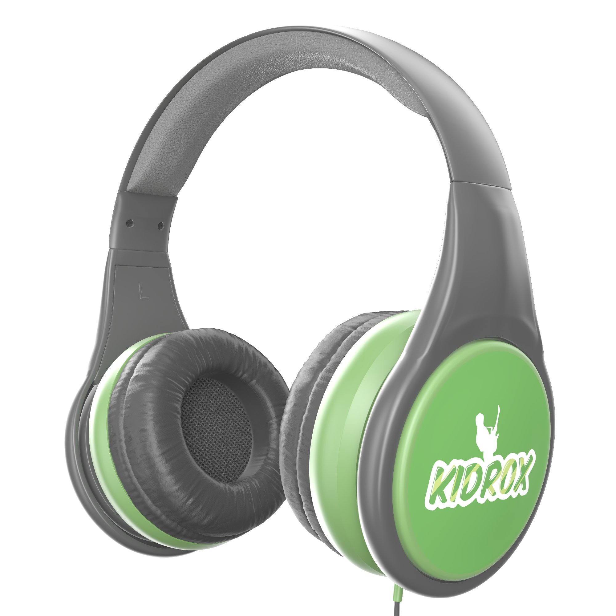 KidRox RS4 Kids Headphones 85dB Volume Limited Adjustable and Safe Hearing Protection Tangle Free Wired On-Ear Earphones For Children Toddler Boys Girls (Green/Gray) by Kidrox