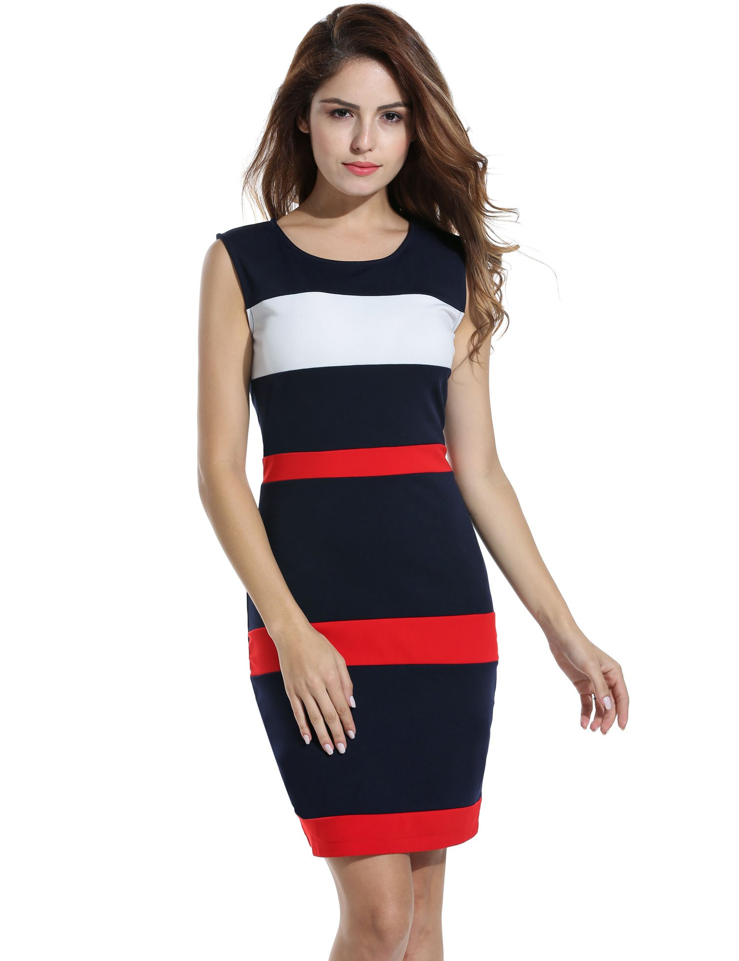 ANGVNS Women\'s Fashion Slim O Neck Colorblock Stripe Pencil Dress