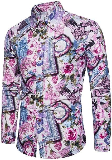 Camisas para Camisa Floral De Manga Larga Color Moda para Hombre: Amazon.es: Ropa y accesorios
