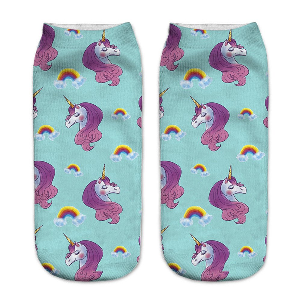 Amazon.com: Luckym Kinds of Unicorn Socks Low Ankle Sports trainer Socks Cartoon Cotton Print for Women Girls Children (#1): Clothing