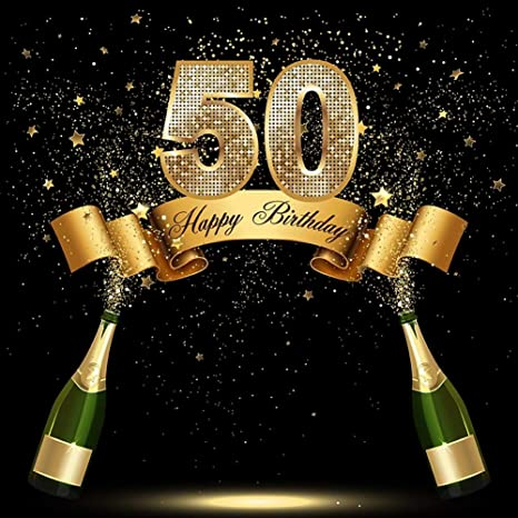 10x10ft Happy 50th Birthday Background 50 Years Old Party Decoration Photography Backdrop Abstract Shiny Stars Glitter Spots Banner Adult Man Woman ...