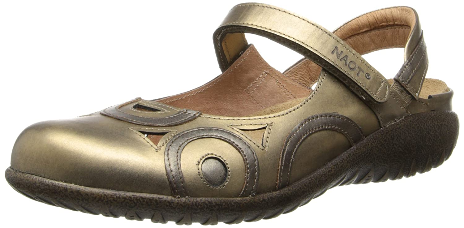 NAOT Women's Rongo Mary Jane Flat B008O91G9I 35 M EU / 4 B(M) US|Brass Leather/Pewter Leather