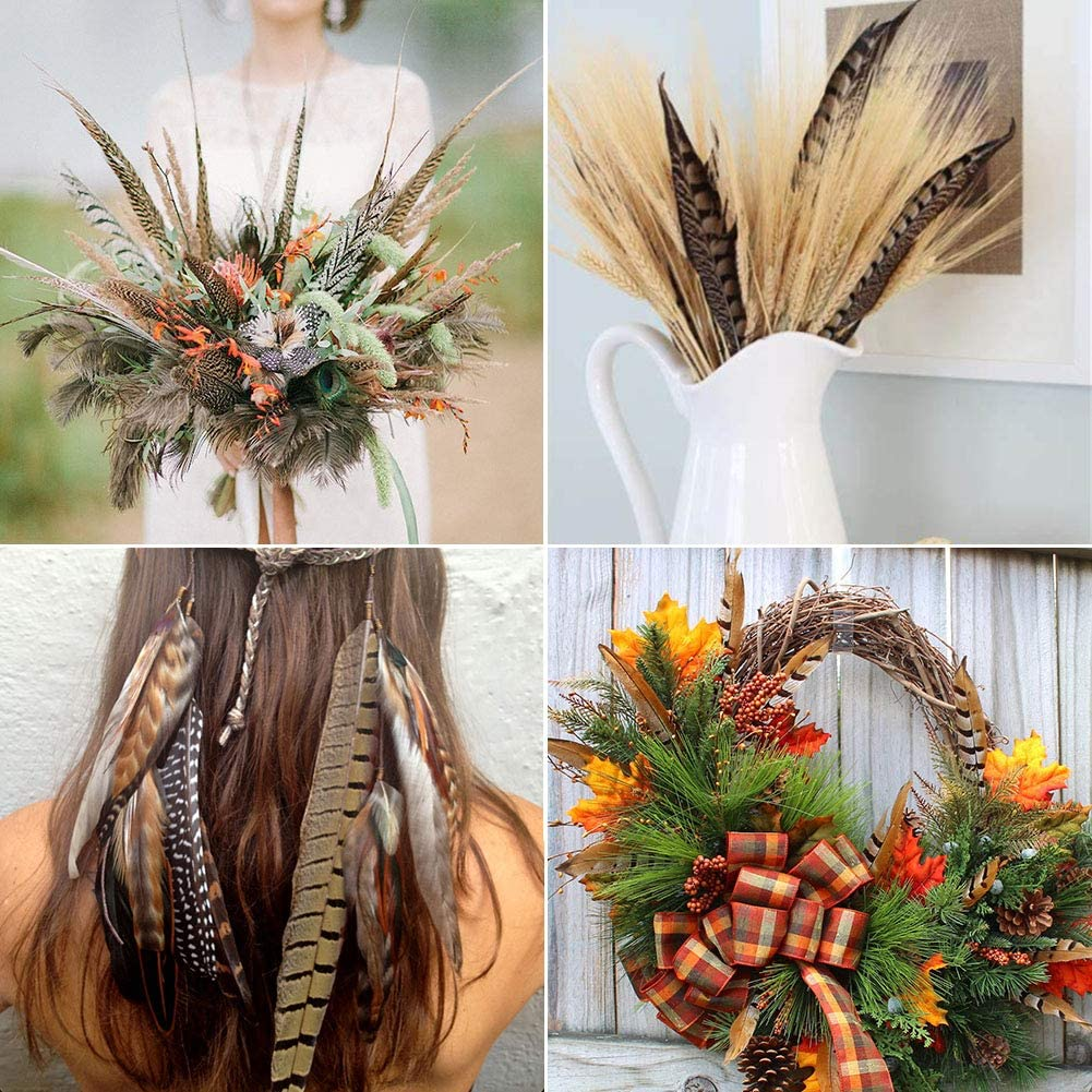 18 Pcs 3 Style Natural Pheasant Feathers for DIY Craft Wedding Home Party Decorations 25-30cm