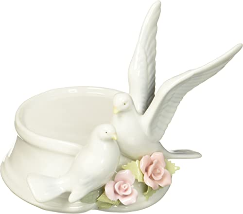 Cosmos 96280 Fine Porcelain Pair of Doves Candle Holder