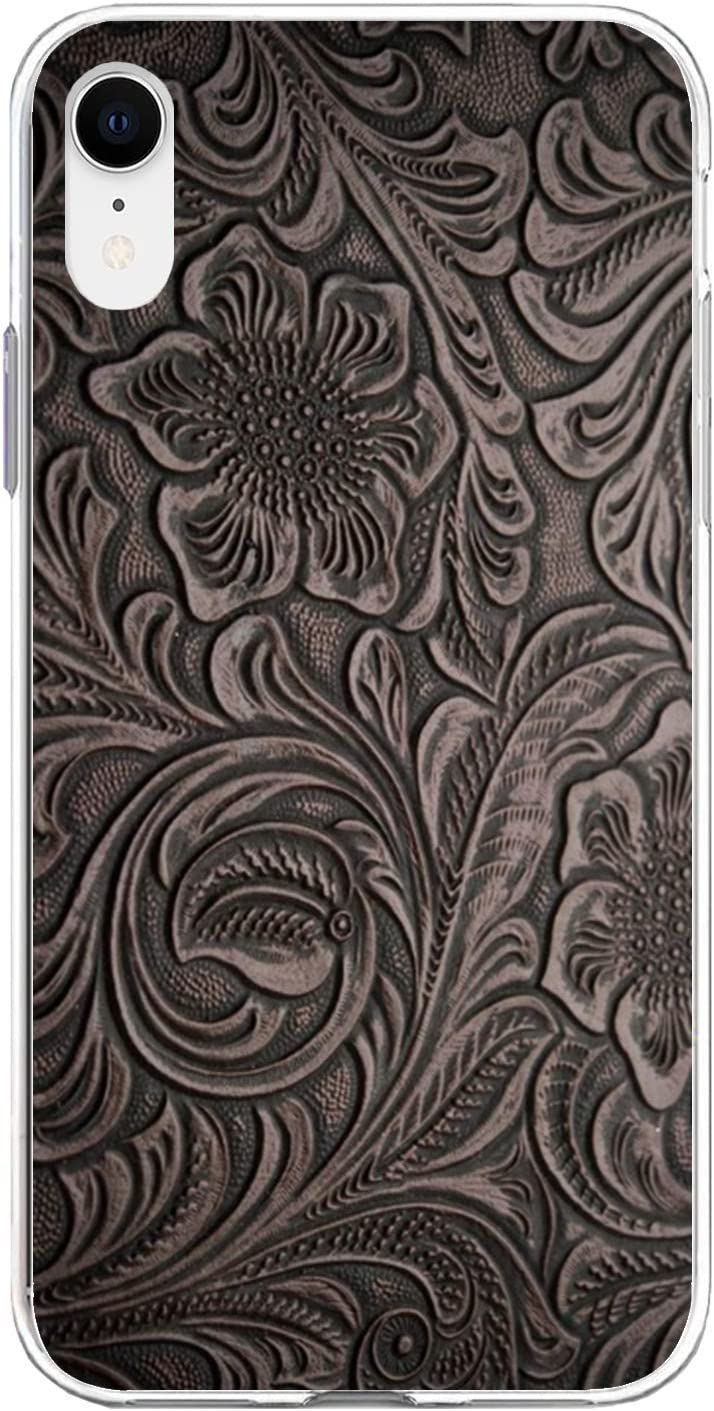 Compatible with iPhone Case Transparent Soft TPU Flexible Corver Case SE 2020/7/8 Cover Distressed Smoky Tooled Leather Pattern Case