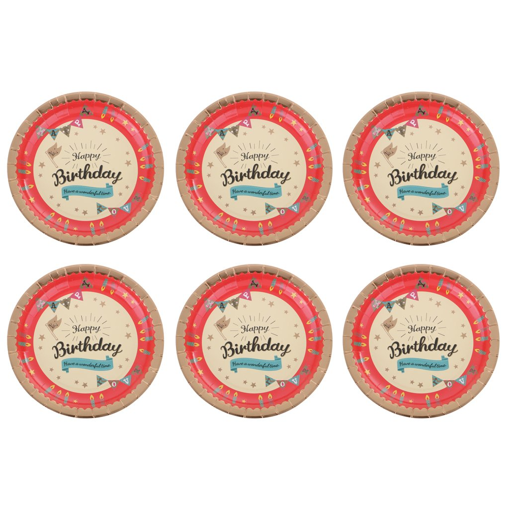 MonkeyJack 6 Pieces Sturdy And Durable Party Food Paper Plates For Birthday Party