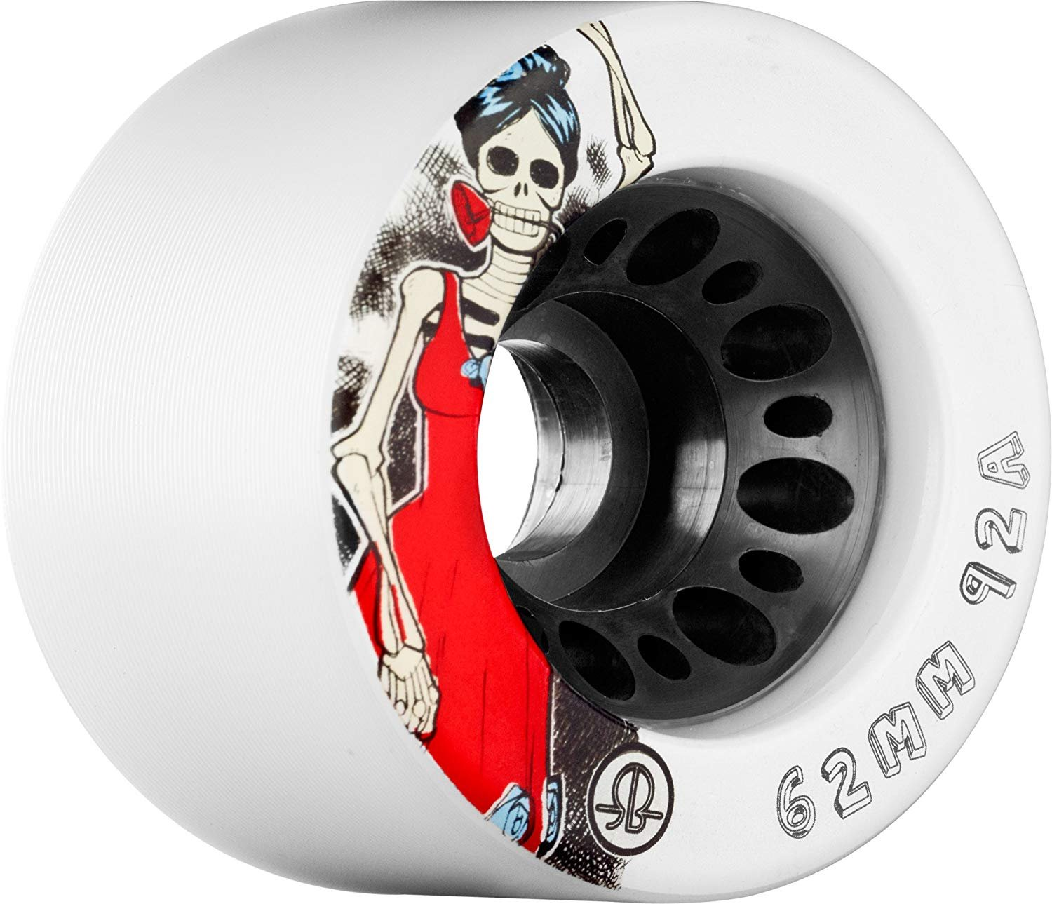 Rollerbones Day of the Dead 86A Speed/Derby Wheels with a Nylon Core (Set of 4), 62mm, White