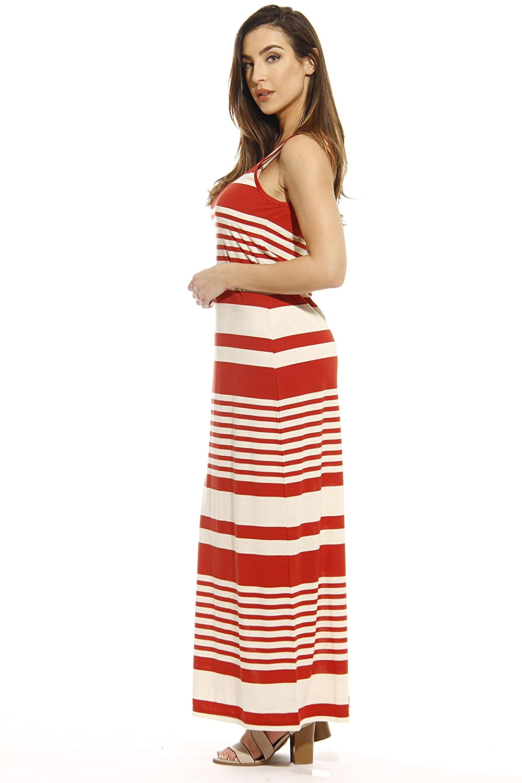 30ac49b29ef7 Just Love Summer Dresses Sleeveless Stripe Maxi Dress at Amazon Women s  Clothing store