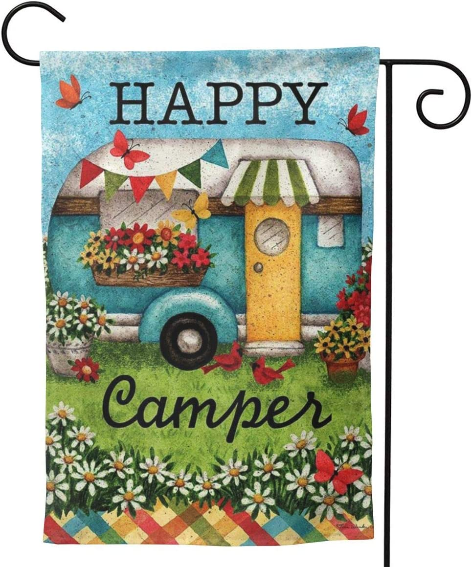 Fallake Happy Camper Garden Flag Double Sided Premium Fabric Outdoor Decoration Yard Lawn Banner Garden Flower Pot Decor 12.5 X18 Inch