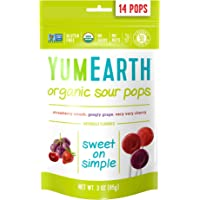 YumEarth Organic Sour Lollipops, 14 Lollipops (Pack of 6)